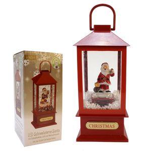 LED Schneelaterne Santa klein mit Schneefunktion