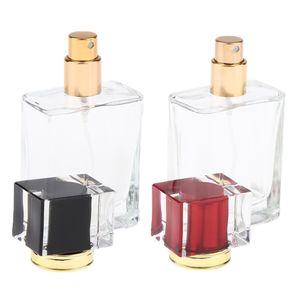 2 Stück Leere Glas Parfümflasche Flakon Spray Zerstäuber Parfümzerstäuber Parfüm Flasche, 50ml, Schwarz & Rot