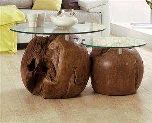 Teakholz Couchtisch Zweisatztisch Beistelltisch Teak mit 2 Glasplatten - (1061)