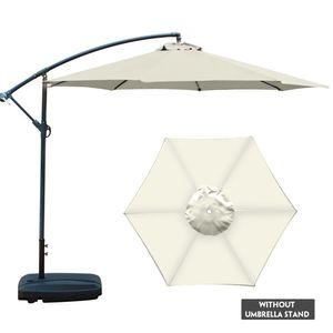 Sonnenschirm rund Ø200cm beige Polyester knickbar UV Schutz,DIY Sonnenschirm  Durchmesser