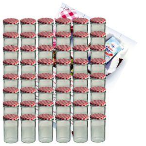 48er Set Sturzglas 435 ml Marmeladenglas Einmachglas Einweckglas Glas To 82 rot karierter Deckel