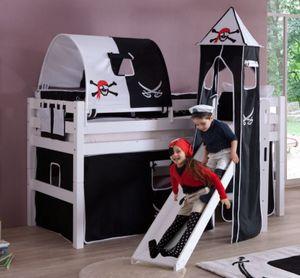 Hochbett ELIYAS Kinderbett mit Rutsche Spielbett Bett Weiß Stoffset Pirat