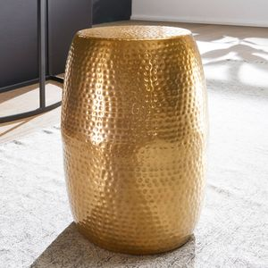 WOHNLING Beistelltisch PEDRO 30x49,5x30cm Aluminium Gold Dekotisch orientalisch rund | Kleiner Hammerschlag Abstelltisch | Designer Ablagetisch Metall modern | Anstelltisch schmal