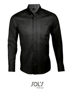 SOLS Herren Hemd langarm Shirt Business 00551 Schwarz Black XXL