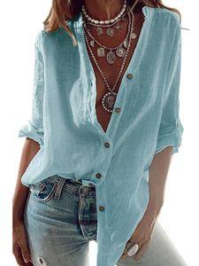 Damen lässig V-Ausschnitt Bluse Langarm geknöpft Hemd plus Größe,Farbe: Blau,Größe:XL
