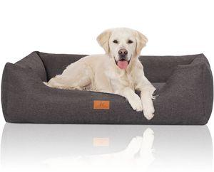 Knuffelwuff Hundebett Lotte aus Velours mit feinem Handwebcharakter XXL 120 x 85cm Grau