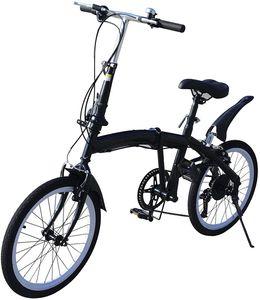 Klappfahrrad 20 Zoll Faltrad 7-Gang Fahrrad Schwarz Klapprad 70-100mm Höhenverstellbar Doppel-V-Bremse Faltrad Fahrräder