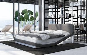 Boxspringbett Guani, Bettrahmen Farbe:Kunstleder weiß-Stoff grau, Bett Liegemaße:200x200 cm, Bett Matratze:Comfort Matratze