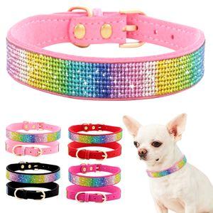 Strass Hundehalsband Halsband aus weichem Leder mit Katzenwelpen, Länge: 36-44 cm, rosarot
