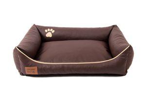 Hundebett Kunst Leder Hundekorb Dollaro Braun XXL 120 x 90 cm Hundesofa Katzenbett Mayaadi Home
