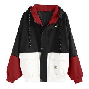Damen Langarm Cord Patchwork Oversize Jacke Windbreaker Coat Mantel Größe:M,Farbe:Schwarz