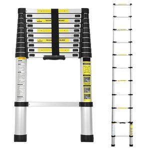 VINGO 3.2M Teleskopleiter Aluminium Mehrzweckleiter Fingerklemmschutz Auszeihleiter  Klappbar Aluminiumleiter Antirutsch bis 150 KG