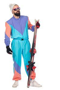 Herren Kostüm Vintage Ski Sport Overall Karneval Fasching Gr. 50