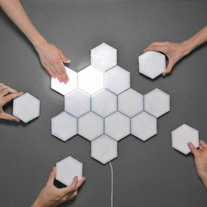 8 Stück Wandleuchte Kleine Modulare Kombilampe Quantensechskantlampe 3000K LED Quantum Hexagonal Lamp Nachtlicht Sensor Touch Beleuchtung