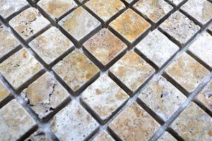 Handmuster Mosaik Fliese Travertin Naturstein gelb Gold Antique Travertin MOS43-51023_m