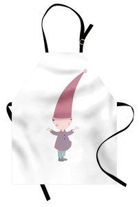 Abakuhaus Kinder Kochschürtze, Kleine Karikatur Gnome Character Illustration mit einem großen rosa Hut, der unter Regen steht, Farbfest Höhenverstellbar Waschbar Klarer Digitaldruck, Mehrfarbig