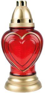 Grabkerze aus Glas im Design Herz, ca. 50h Brenndauer
