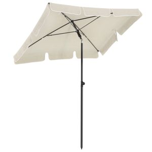 SONGMICS Sonnenschirm 200 x 125 cm, UV-Schutz bis UPF 50+, Gartenschirm, knickbar, Schirmtuch mit PA-Beschichtung, ohne Ständer, beige GPU025M01
