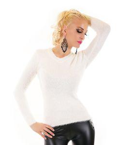 Uni V-Neck Langarm Pullover mit Zottel-Oberfläche, Farbe: Weiß, Größe: One Size (Einheitsgröße)