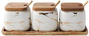 Keramik Gewürzbehälter, Zucker Dosen Salz MSG Salz Pfeffer Gewürze Glas mit Label & Bambus Deckel Löffel Küchenutensilien Behälter 3 Stück Haushalt Set,Weiß