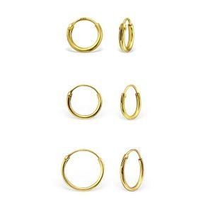 Kleine goldene Creolen Ohrringe aus 925 Silber, Durchmesser:08 mm