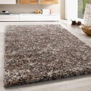 Hochflor Shaggy Teppich Soft Langflorteppich Taupe Beige Mocca Creme Meliert, Farbe:Beige, Grösse:120x170 cm