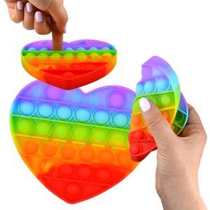 Magic Push Pop It Spiel Regenbogen Herz Anti Stress Fidget Noppen Rund Kinder 12cm
