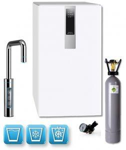 Einbau-Tafelwasseranlage BLACK & WHITE DIAMOND (Option CO2 Eigentumsflasche: 10kg CO2 Flasche / Armatur: U-Auslauf / Farbe: weiß)