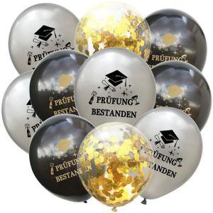 Oblique Unique Konfetti Luftballon Set 10 Stk. Prüfung bestanden Schulabschluss Abitur Studium