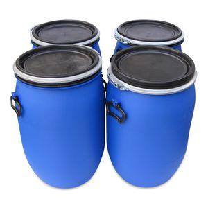 4 x 60 L 60 Liter Spannfass Kunststofftonne Fass Tonne mit Deckel Spannring Farbe blau, gebr. (4x60 Spann)