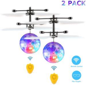2 Pack RC Fliegender Ball und Fernbedienung, LED Flying Ball mit Handsensor Infrarot Mini Hubschrauber Fliegendes Spielzeug