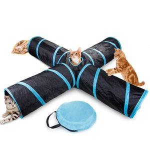 Katzentunnel 4-Wege-Haustier-Spieltunnel Faltbares Tunnelspielzeug fuer Katzen, Hunde, Kaninchen, Haustiere