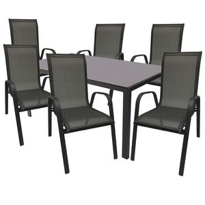 Gartengarnitur 7-teilig 160x90cm Anthrazit Glasplatte + 6 Stühle Anthrazit / Schwarz