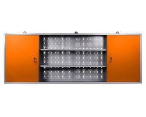 Ondis24 Werkzeugschrank Metall, Werkstattschrank 160x16x60 (H) cm, 2 abschließbare Türen, Hängeschrank mit Einlegeböden (orange)