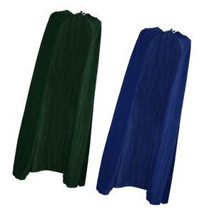 2 Stück Samt Kapuzen Cape Gothic Umhang Mittelalter Hexe Kostüm Blau Grün