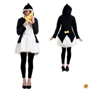 Kostüm Pinguin, Mantel mit Schal, Größe:S