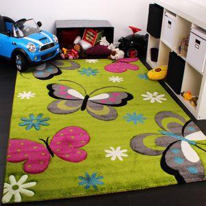 Kinder Teppich Schmetterling Design Grün Creme Rot Pink, Grösse:Ø 120 cm Rund