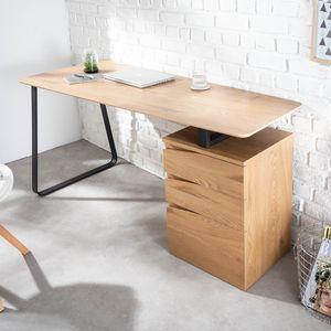 Industrial Schreibtisch STUDIO 160cm Eichenoptik mit 3 Schubladen
