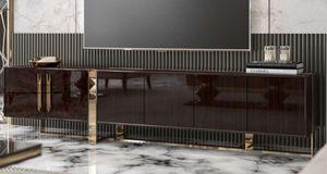 Casa Padrino Luxus Art Deco TV Schrank Dunkelbraun Hochglanz / Gold - Edler Wohnzimmer Fernsehschrank mit 6 Türen - Art Deco Möbel