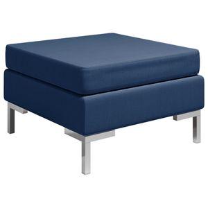 【Neu】Klassische Sofas Fußhocker Modular mit Auflage Stoff Blau Gesamtgröße:65 x 65 x 42 cm BEST SELLER-Möbel-Sofas im Landhaus-Stil