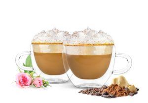 4 Doppelwandige Cappuccino Tassen mit Henkel 300ml Kaffeegläser Teegläser Thermogläser Gläser