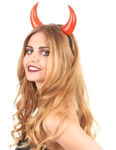 Teufelshörner-Haarreif glänzend rot-schwarz