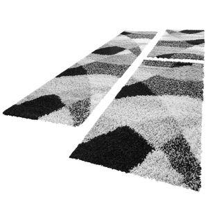 Bettumrandung Läufer Hochflor Shaggy Teppich Weich Grau Meliert Läuferset 3 Tlg, Grösse:2mal 70x140 1mal 70x250 cm