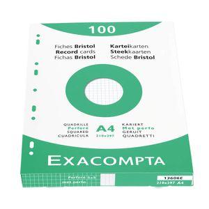 EXACOMPTA Karteikarten DIN A4 kariert weiß 4-fach Lochung 100 Karteikarten