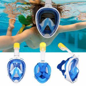 Kinder Schnorchelmaske Trocken Antinebel Vollmaske Tauchmaske Tauchermaske Blau S/M