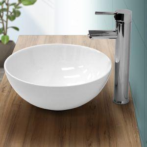 ECD Germany Waschbecken Waschtisch Ø 320 x 135 mm aus Keramik Rund Weiß ohne Überlauf - Aufsatzbecken Aufsatzwaschbecken Handwaschbecken Aufsatzwaschtisch Spülbecken Becken Wasserfall Waschschale Waschschlüssel