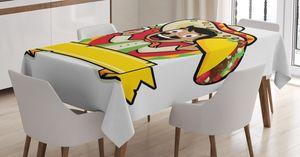 ABAKUHAUS Mexikaner Tischdecke, Mann mit einem Bier und Taco, Für den Inn und Outdoor Bereich geeignet Waschbar Druck Klar Kein Verblassen, 140 x 240 cm, Mehrfarbig
