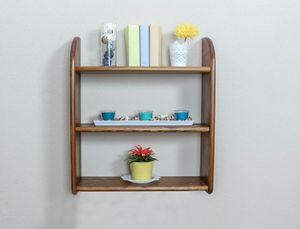 Hängeregal, Wandregal, Bücherregal - 60 cm breit, Kiefer Massivholz, Farbe: Eiche