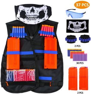 Taktische Weste kit für Nerf 37pcs, Taktische Jacke Set für Nerf Guns N-Strike Elite mit 30Pcs Darts Bullets, 2 Quick Reload-Clips, 2 Dart Armbändern, 1 Tactical Brillen