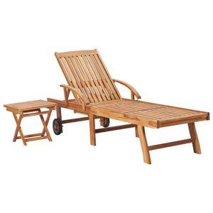 Sonnenliege Gartenliege Relaxliege Strandliege mit Tisch Massivholz Teak